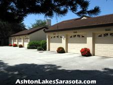 Some of the units at Ashton Lakes in Sarasota, FL come with a detached one-car garage. This is a desirable luxury for the condo dweller.