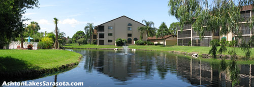 This lake vista can be seen near the clubhouse at Ashton Lakes from nearby units as well as from the pool.